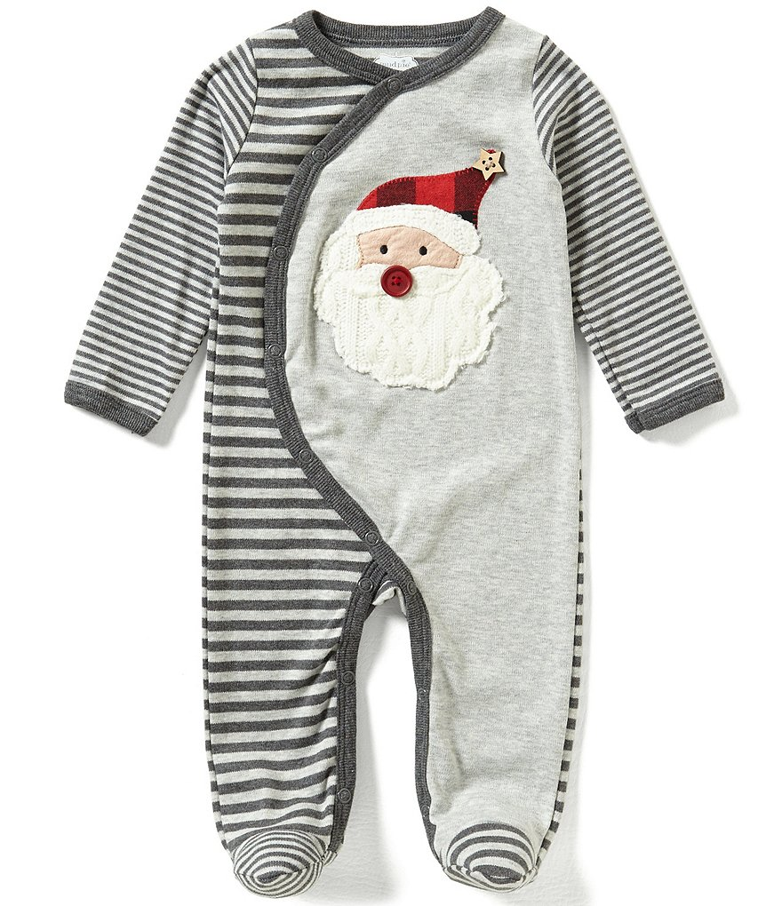Mud Pie Baby Boys Newborn-9 Months Christmas Santa Footed Coverall