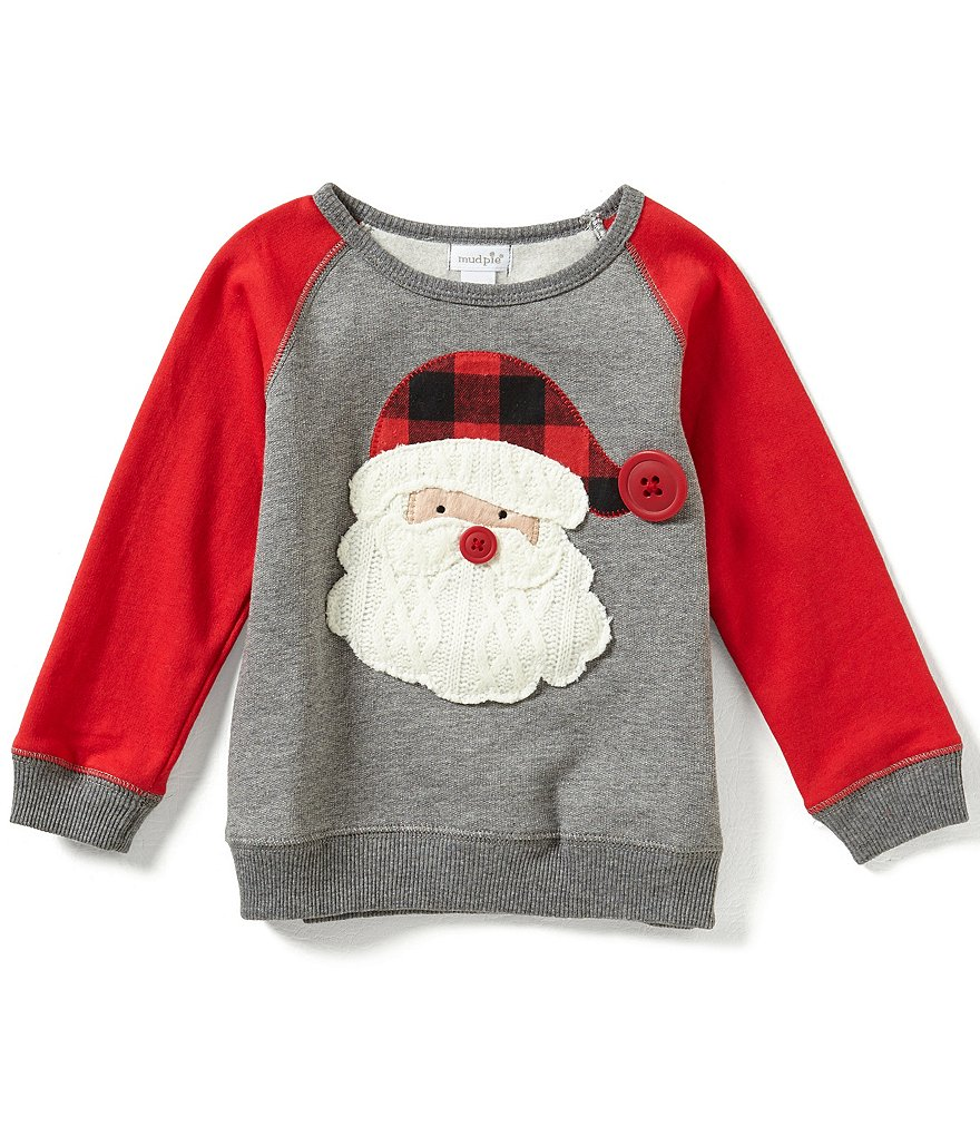 Mud Pie Baby Boys 12-24 Months Christmas Santa Long-Sleeve Shirt