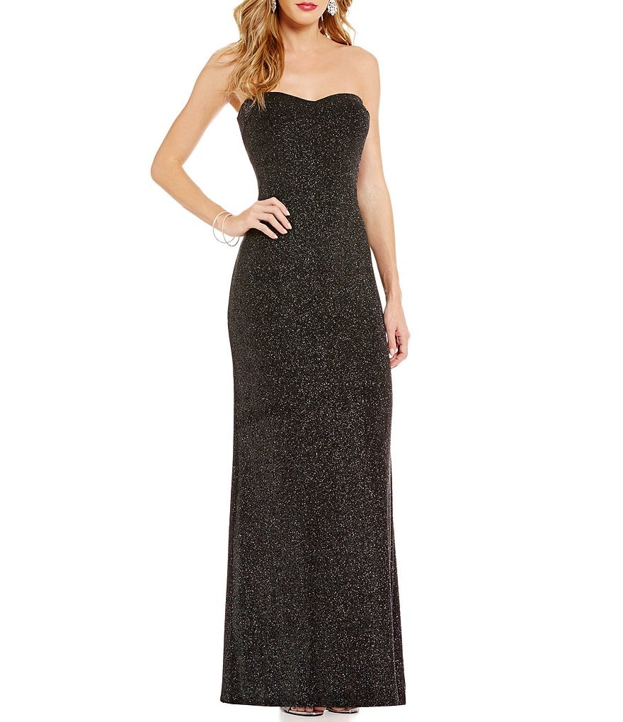 Jump Strapless Glitter-Accented Long Dress