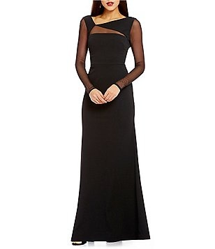Vera Wang V-Neck Illusion Cut-Out Long Sleeve Gown