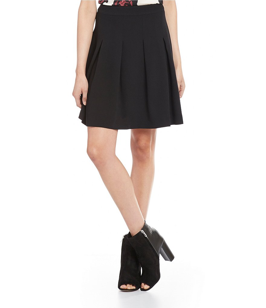 kensie Waffle-Crepe Fit-and-Flare Pleated Skirt