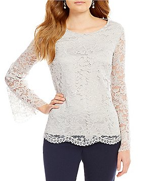 Alex Marie Kimi Woven Sequin Lace Long Bell Sleeve Blouse