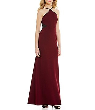 Vera Wang Halter Neck Sleeveless Side Cut-Out Solid Scuba Crepe Gown