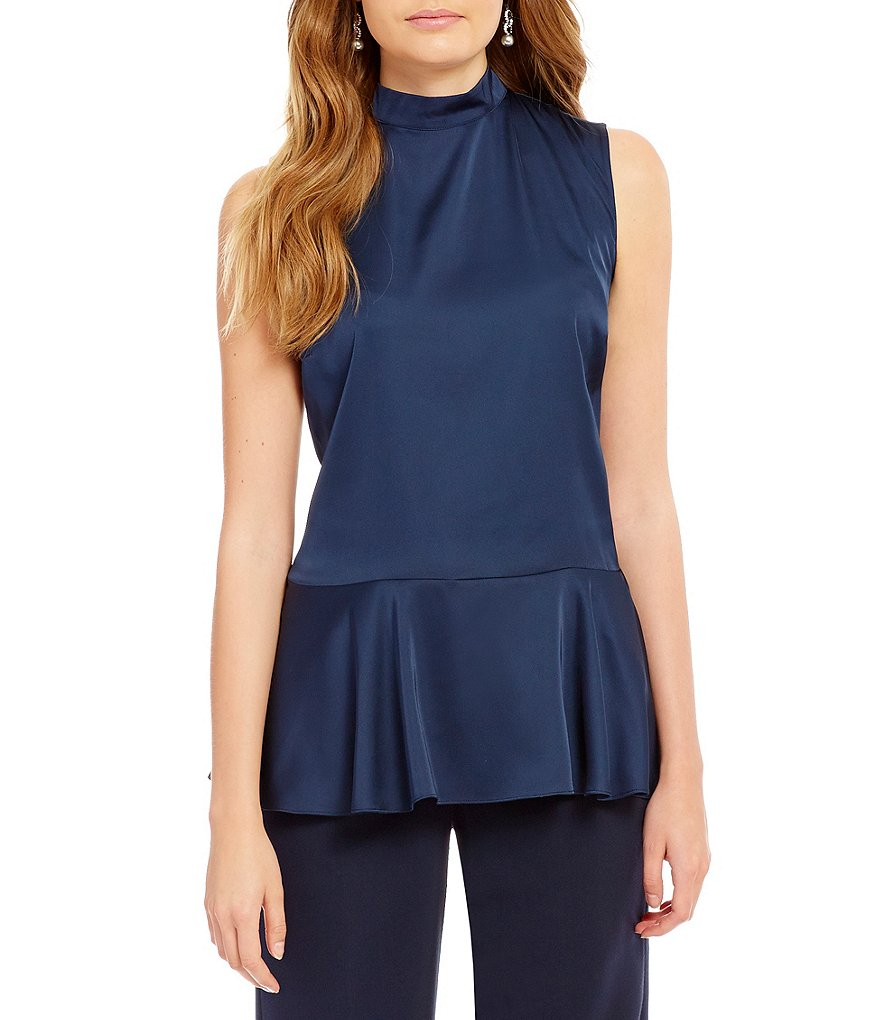 Alex Marie Kira Woven Sleeveless Mock Neck Peplum Blouse