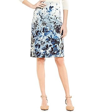 Alex Marie Melinda Hook Back Floral Printed Pencil Skirt