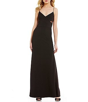 Vera Wang V-Neck Sleeveless Thin Strap Side Cut-Out Solid Gown