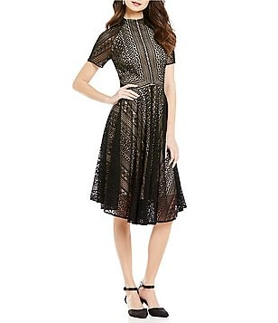 Alex Marie Keaton Mock Neck Short Sleeves Lace A-Line Dress