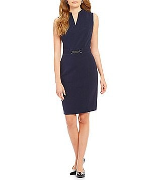 Alex Marie Lyanna Belted V-Neck Sleeveless Sheath Dress