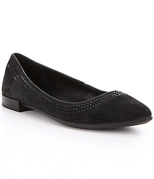 ECCO Shape Leather Pointed Toe Stone Embellished Slip-On Ballerina Flats