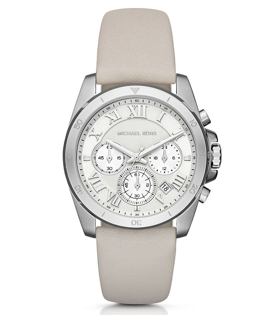 Michael Kors Brecken Chronograph & Date Leather-Strap Watch