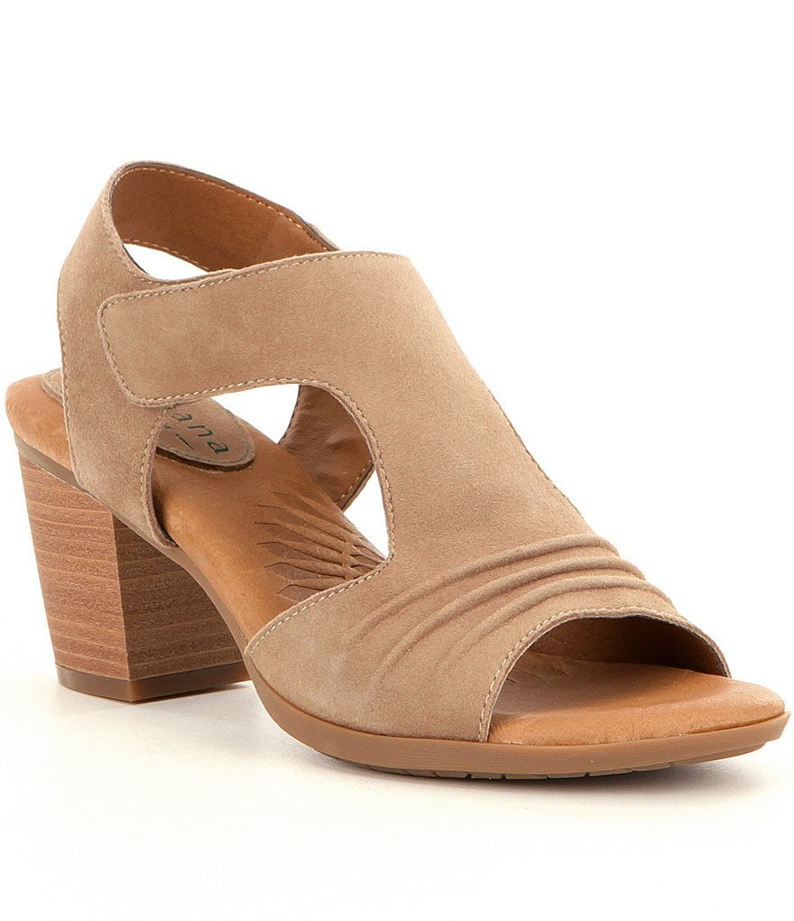 Montana Magnolia Suede Hook-and-Loop Scrunched Front Sandals
