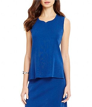 Ming Wang Sweetheart Neck Side Slit Solid Tank