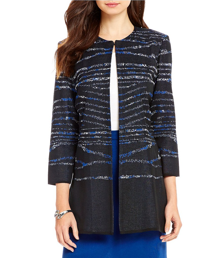 Ming Wang Jewel Neck 3/4 Sleeve Patterned Long Jacket