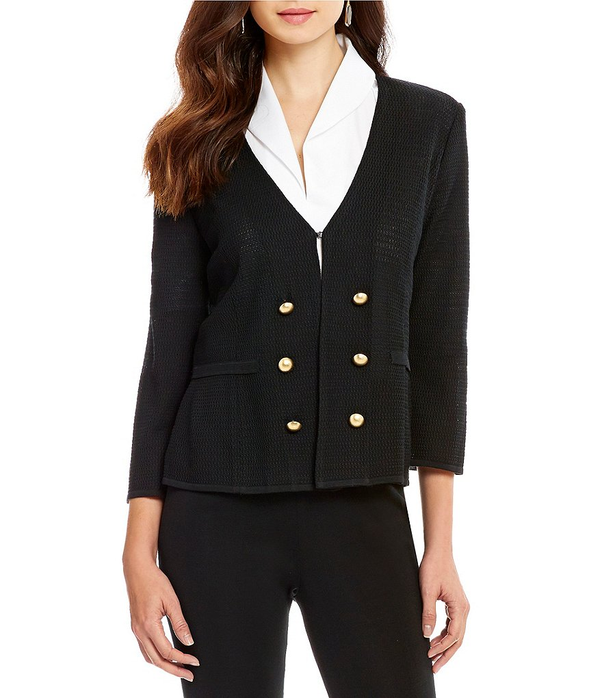 Ming Wang Double Button 3/4 Sleeve Blazer Jacket