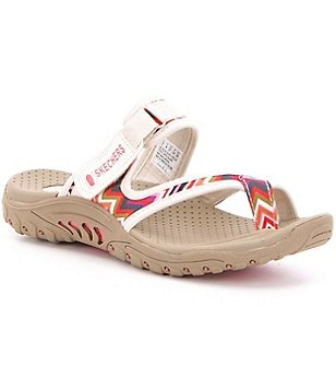 Skechers Reggae Zig Swag Woven Canvas Cross Strap Slip-On Sandals