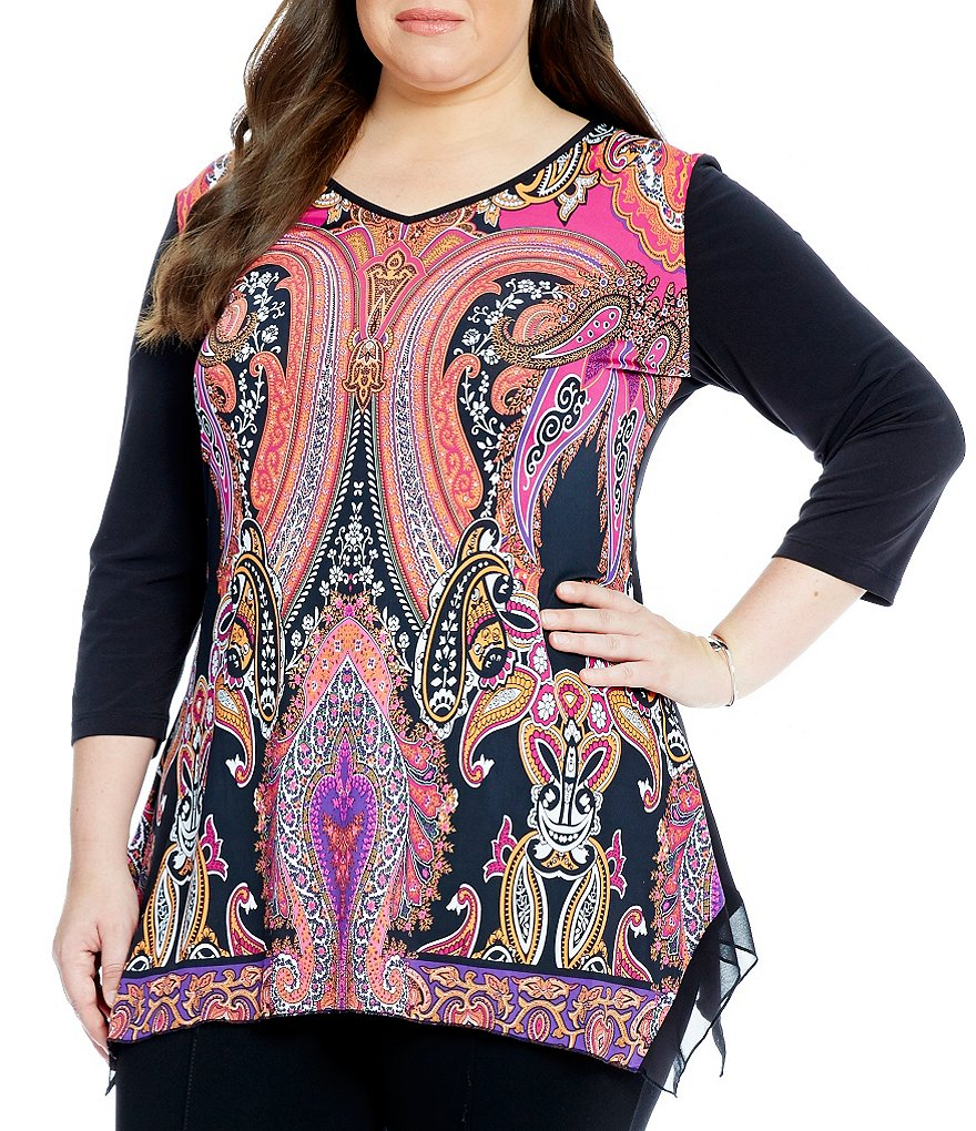 Peter Nygard Plus Printed Sharkbite Hem Tunic