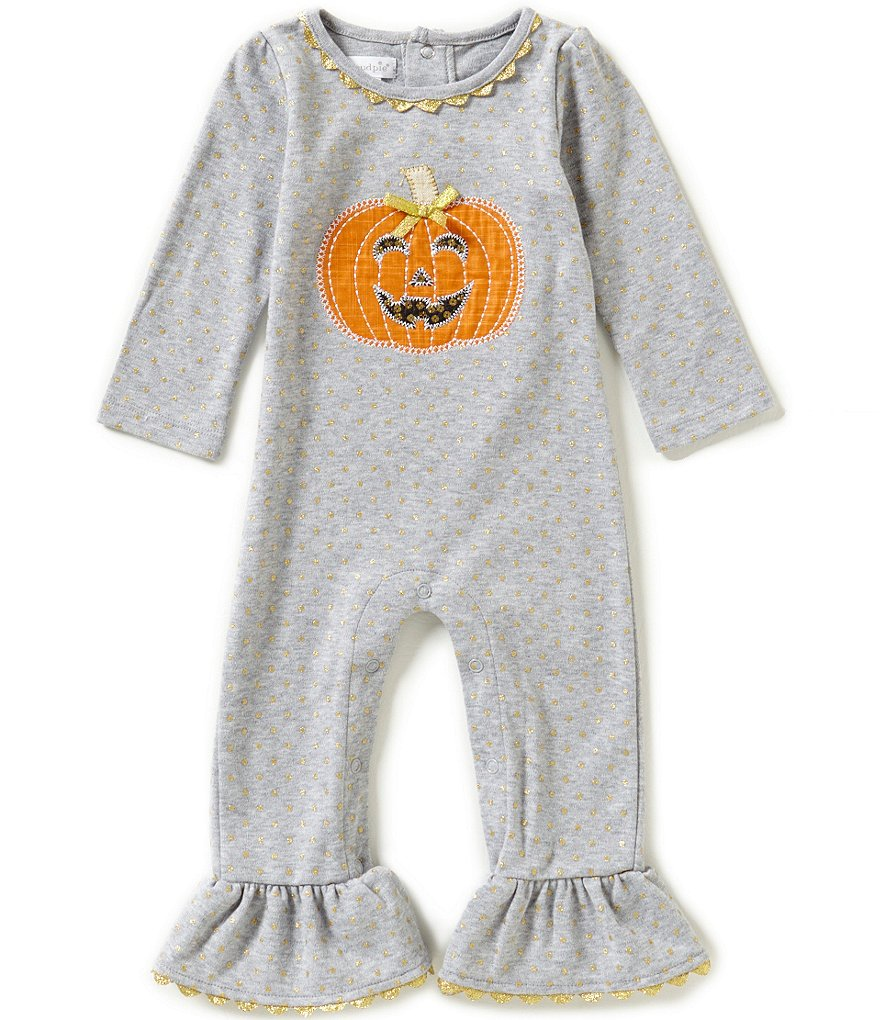 Mud Pie Baby Girls Newborn-12 Months Halloween Pumpkin Coverall