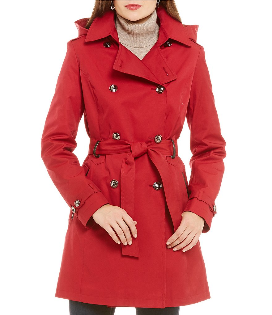 Preston & York Notch Collar Rain Trench Coat With Detachable Hood