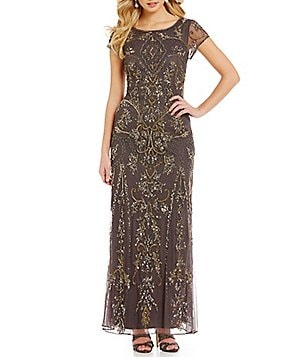 Pisarro Nights Petite Cap Sleeve Beaded Gown