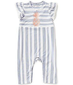 Jessica Simpson Baby Girls Newborn-9 Months Pineapple Impression-Stripe Coverall