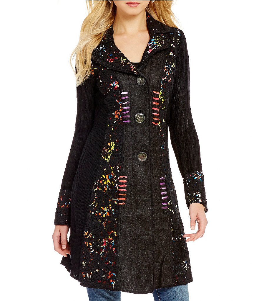 Paris Hues Notch Collar Long Patchwork Print Trench Coat