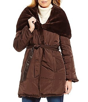 Preston & York Reversible Faux-Fur and Soft Quilt Belted Coat