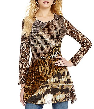 Paris Hues Animal Patchwork Long Sleeve Tunic