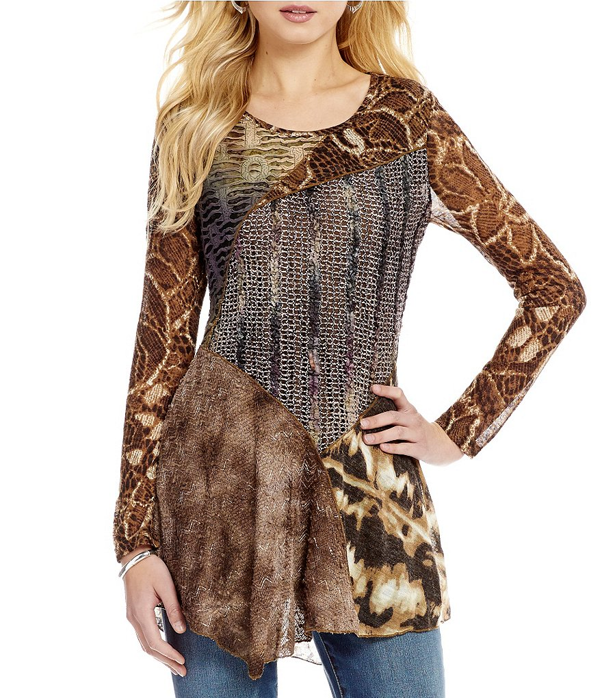 Paris Hues Round Neck Long Sleeve Animal Patchwork Tunic