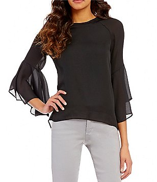 Chelsea & Theodore Long Flutter Sleeve Hi-Low Blouse
