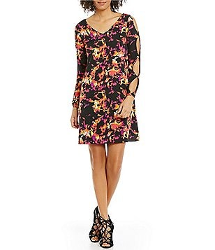 Chelsea & Theodore Printed Swing Long Sleeve Cut-Out Dress