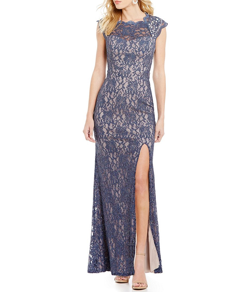 Jodi Kristopher Embellished Shoulders Cutout Back Long Glitter-Lace Dress