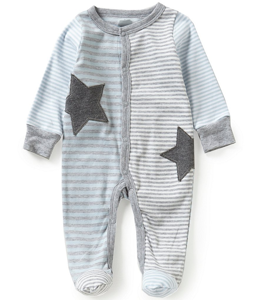 Mud Pie Baby Boys Newborn-9 Months Striped Star-Appliquéd Footed Coverall