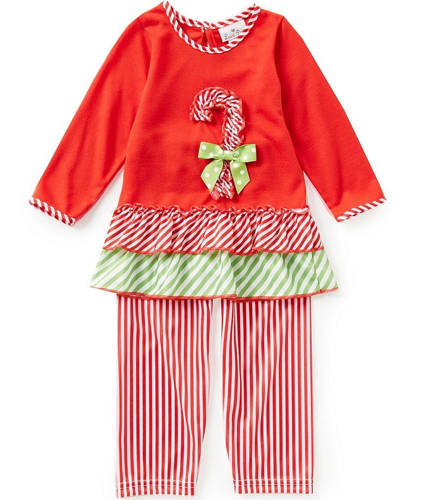 Laura Dare Little Girls 2T-6X Christmas Candy-Cane Top and Pants Pajama Set