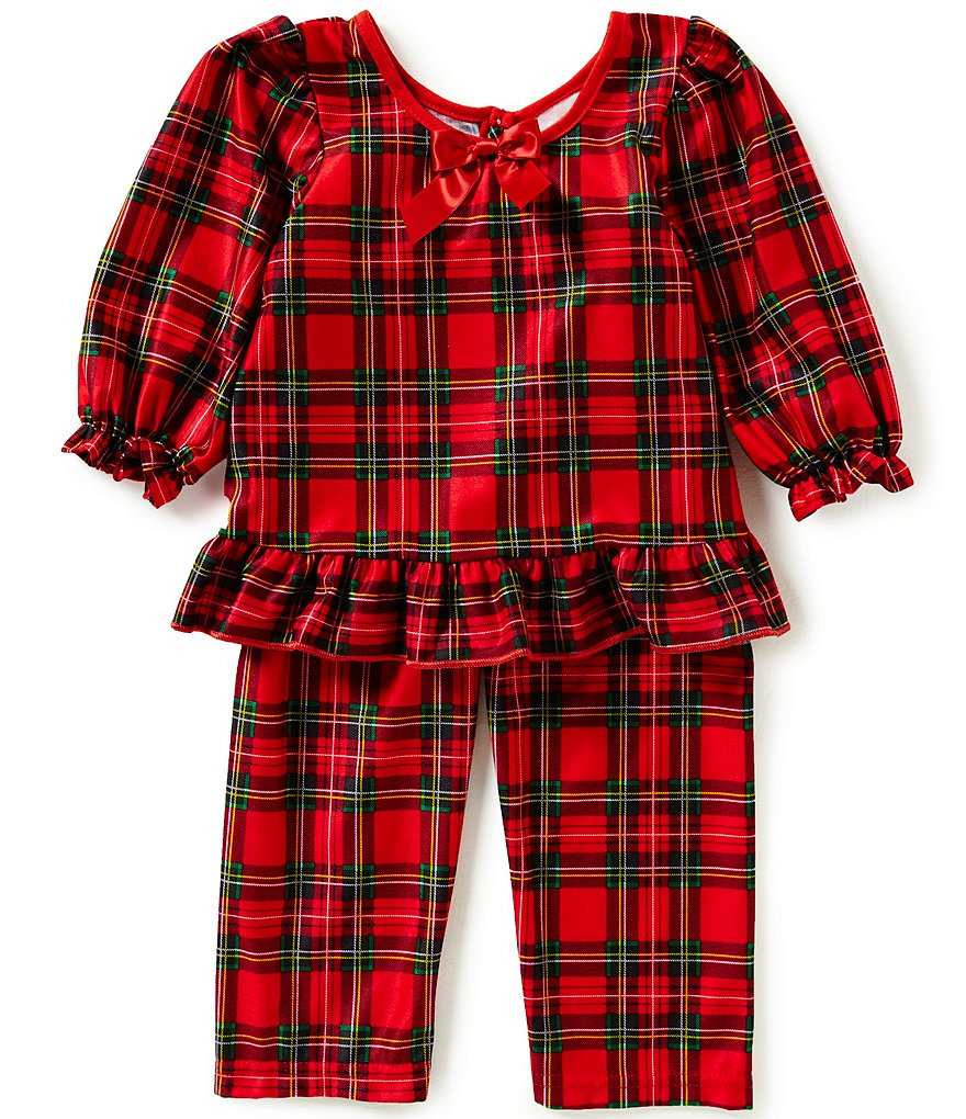 Laura Dare Little Girls 2T-6X Holiday Plaid Top and Pants Pajama Set
