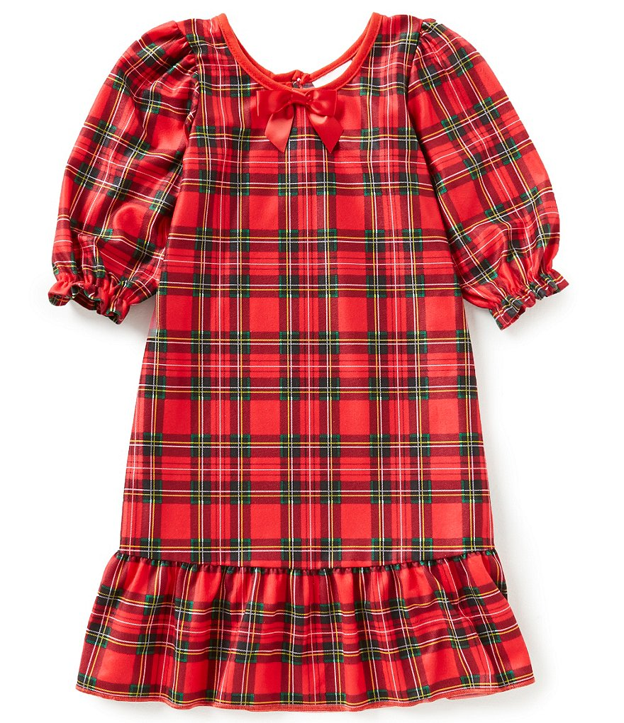 Laura Dare Little Girls 2T-6X Holiday Plaid Ruffled-Sleeve Nightgown