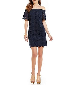 Maggy London Off-The-Shoulder Lace A-Line Dress