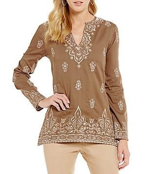 Sigrid Olsen Signature Split V-Neck Long Sleeve Embroidered Tunic
