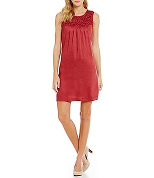 Sigrid Olsen Signature Beaded Neck Solid Shift Dress