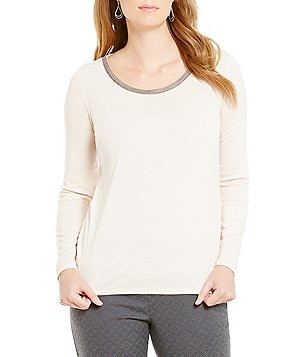 Sigrid Olsen Signature Beaded Long Sleeve Knit Top