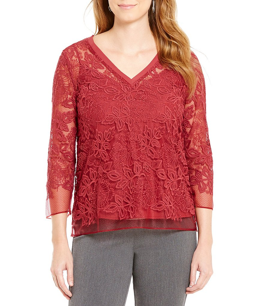 Sigrid Olsen Signature V-Neck 3/4 Sleeve Lace Top