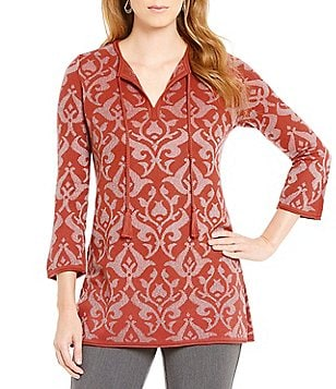 Sigrid Olsen Signature Jacquard Metallic Long Sleeve Tunic