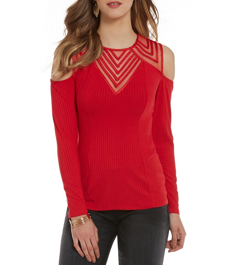 Love On Tap Cold Shoulder High-Neck Shadow Stripe Top