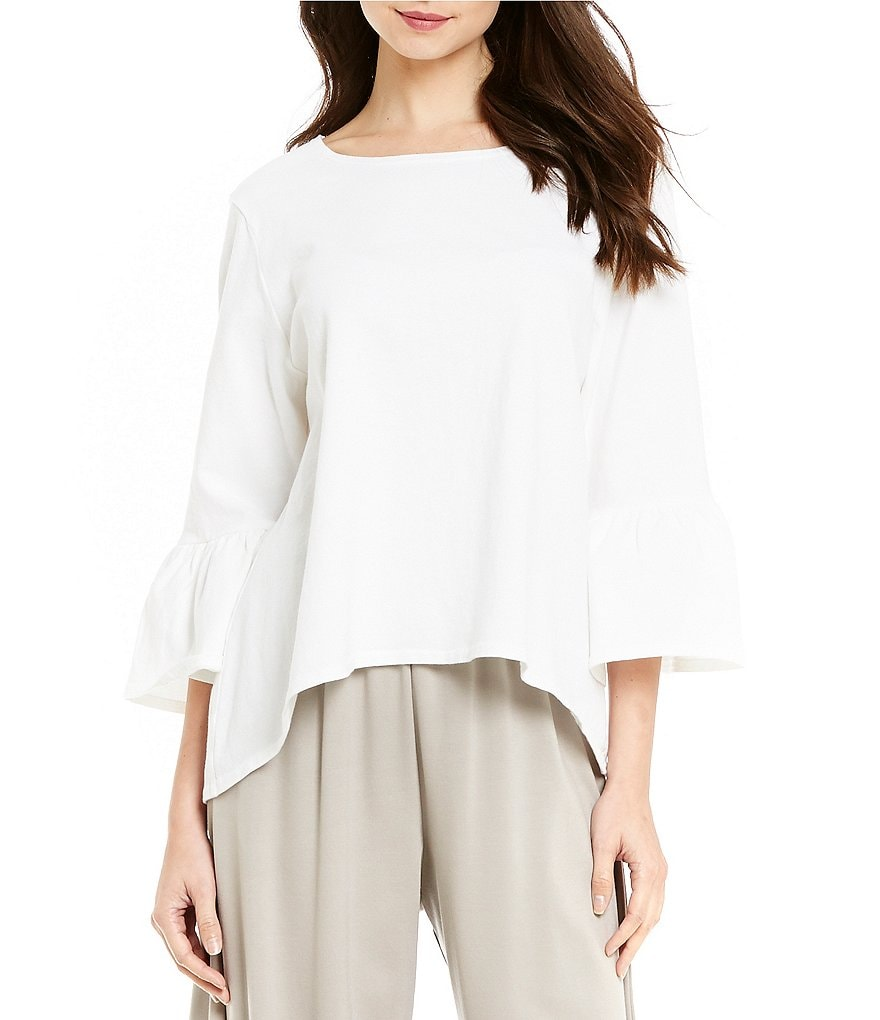 Bryn Walker Fran Ruffle Sleeve Hi-Low Hem Shirt