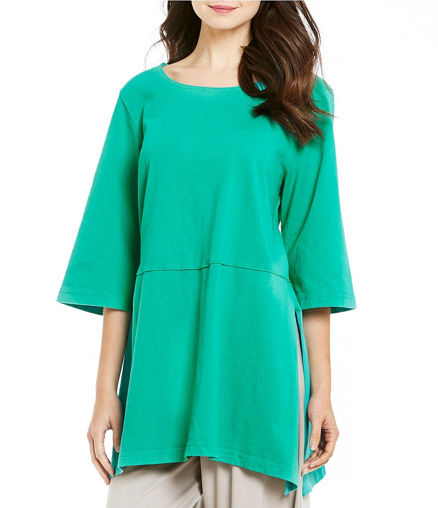 Bryn Walker Round Neck 3/4 Sleeve Side Slit Bre Tunic