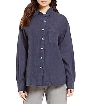 Bryn Walker Point Collar Long Cuffed Sleeve Boyfriend Shirt