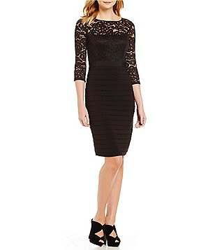 Adrianna Papell Petite 3/4 Sleeve Lace Banded Dress