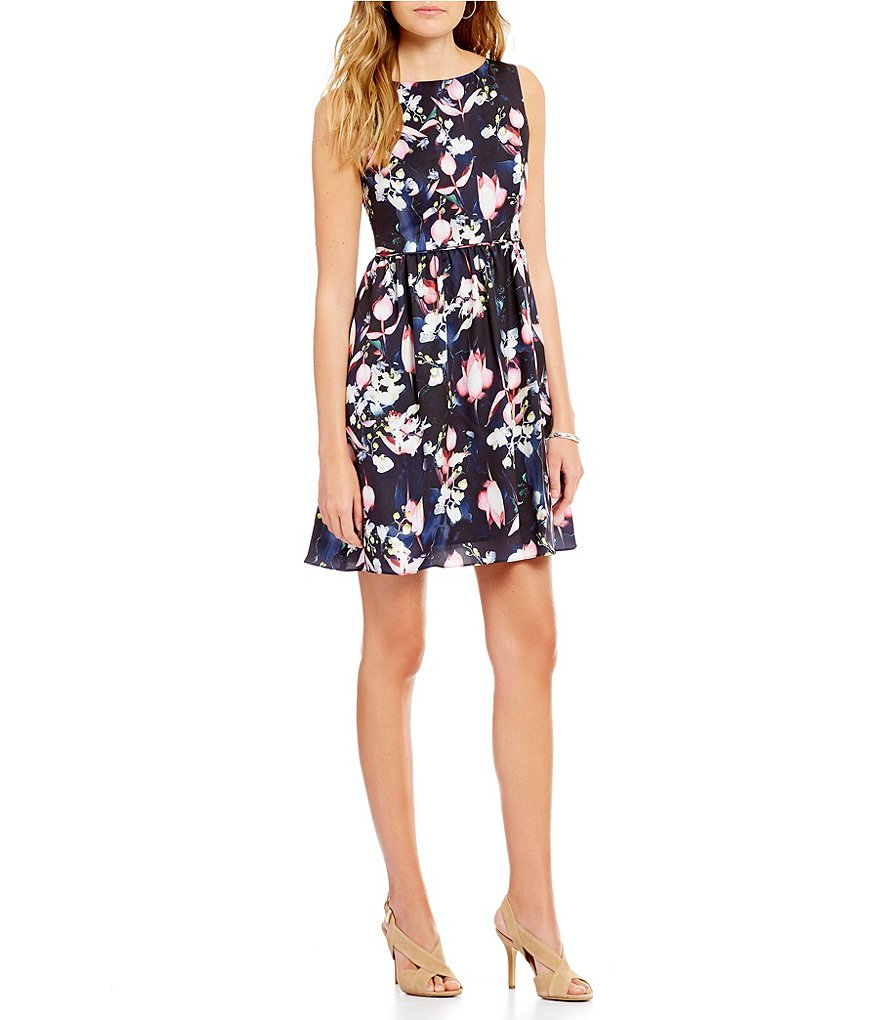 Adrianna Papell Petite V-Back Floral Printed Fit-and-Flare Dress