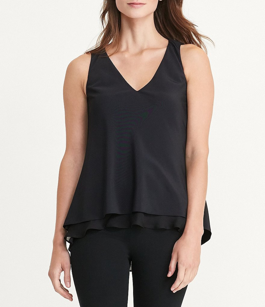Lauren Ralph Lauren Layered Crepe V-Neck Sleeveless Blouse