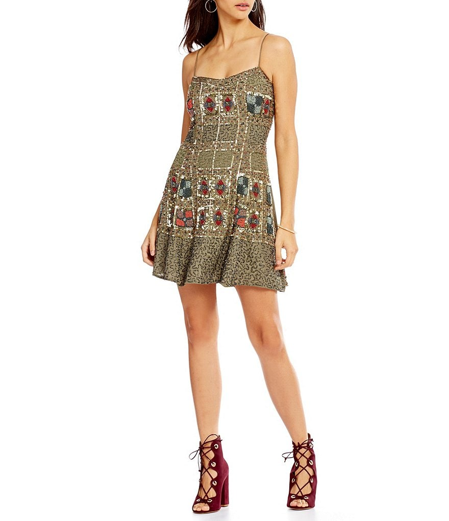 Chelsea & Violet V-Neck Sleeveless Sequin Slip Dress