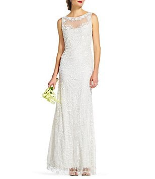 Adrianna Papell Round Neck Sleeveless Illusion Beaded Lace Gown